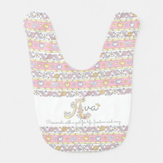 Ava name and meaning hearts pattern baby bib
