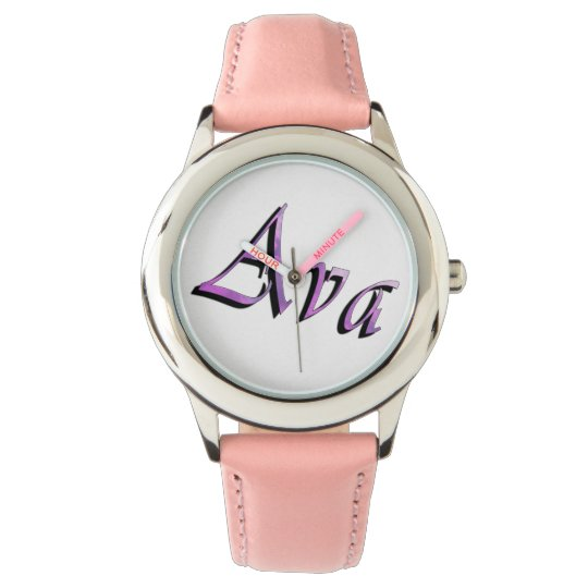 Ava, Name, Logo, Girls Pink Leather Watch. Wrist Watch