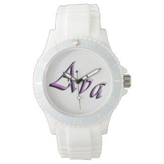 Ava, Name, Logo, Ladies White Sports Watch. Watch