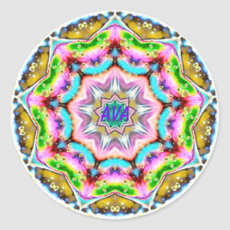 AVA ~ Personalised Paua Shell Fractal ~ Classic Round Sticker