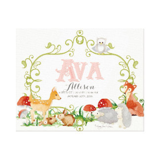 Ava Top 100 Baby Names Girls Newborn Nursery Canvas Print