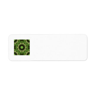 Avacado green with black lines return address label