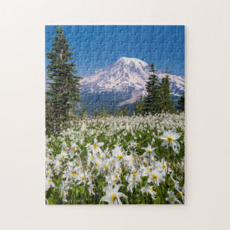 Avalanche lilies and Mount Rainier 2 Jigsaw Puzzle