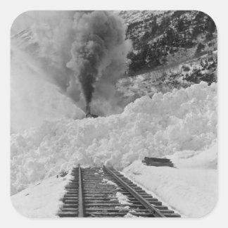 Avalanche Train Tracks Square Sticker