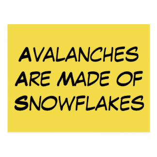 """""""Avalanches Are Made of Snowflakes"""" Left-Leaning Postcard"""