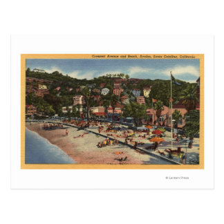 Avalon View of Crescent Ave. & Beach Postcard