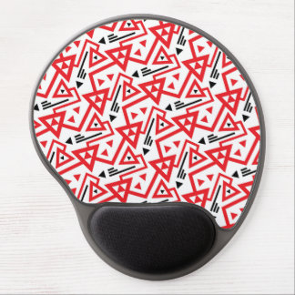 Avant-garde bright red and black geometric pattern gel mouse pad