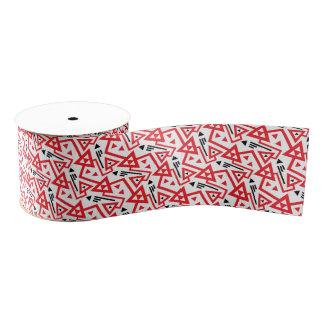 Avant-garde bright red and black geometric pattern grosgrain ribbon