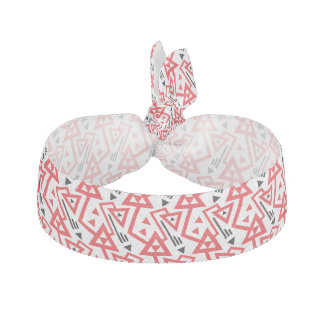 Avant-garde bright red and black geometric pattern hair tie