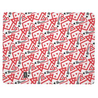 Avant-garde bright red and black geometric pattern journal