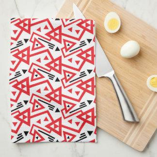 Avant-garde bright red and black geometric pattern kitchen towel