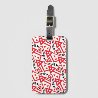 Avant-garde bright red and black geometric pattern luggage tag