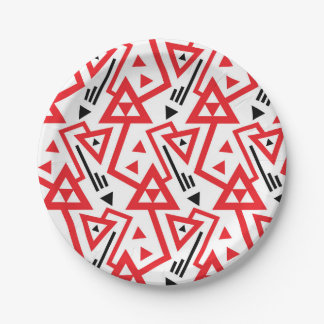 Avant-garde bright red and black geometric pattern paper plate