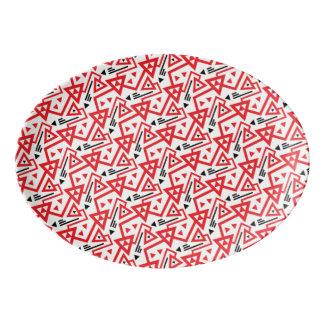 Avant-garde bright red and black geometric pattern porcelain serving platter