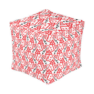 Avant-garde bright red and black geometric pattern pouf