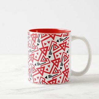 Avant-garde bright red and black geometric pattern Two-Tone coffee mug