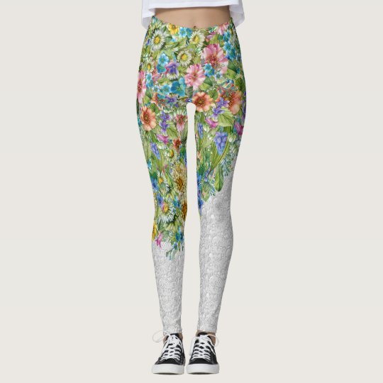 Avant-Garde Floral Pop Fashion Leggings