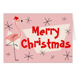 Avant rose de Joyeux Noël de Santa de flamant Carte