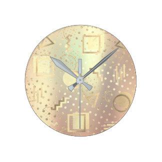 Avantgarde Retro Zig Zag Dots Metallic Rose Gold Wallclock