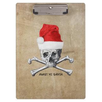 Avast Ye Santa Holiday Pirate Skull #1 Clipboard