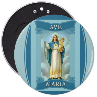 AVE MARIA VIRGIN MARY CHRIST CHILD Rosary 6 Inch Round Button