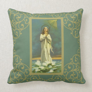 Ave Maris Stella Mary Virgin Rosary Throw Pillow