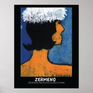 """""""Avec de Femme Charpeau Blanche"""" par Zermeno Poster"""