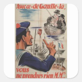 Avecce de gaulle  Propaganda Poster Square Sticker