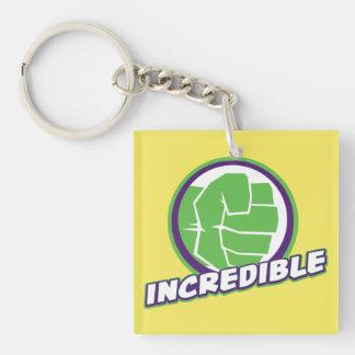 Avengers Assemble Incredible Hulk Logo Double-Sided Square Acrylic Keychain