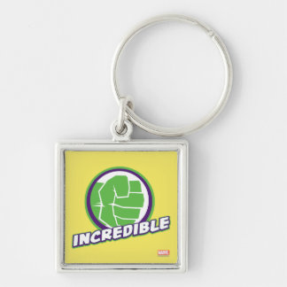 Avengers Assemble Incredible Hulk Logo Silver-Colored Square Keychain