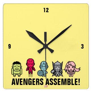 Avengers Assemble - Stylized Line Art Clock