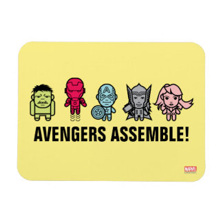 Avengers Assemble - Stylized Line Art Rectangular Photo Magnet