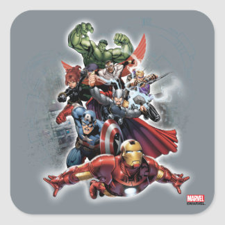 Avengers Attack Graphic Square Sticker