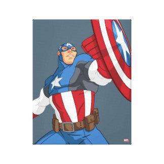 Avengers Cartoon Captain America Character Pose Canvas Print