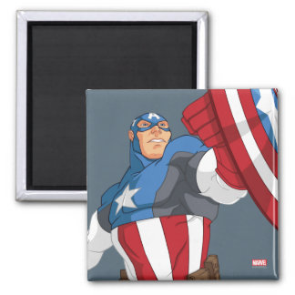 Avengers Cartoon Captain America Character Pose Square Magnet