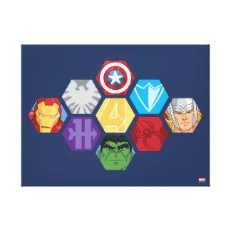 Avengers Character Faces & Logos Badge Canvas Print