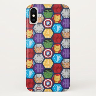 Avengers Character Faces & Logos Badge iPhone X Case