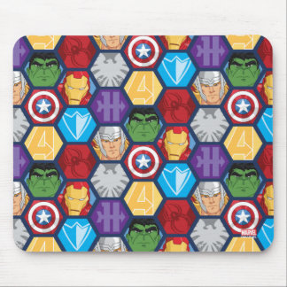 Avengers Character Faces & Logos Badge Mouse Pad