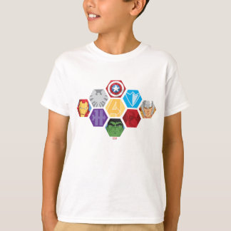 Avengers Character Faces & Logos Badge T-Shirt