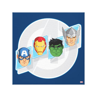 Avengers Character Faces Over Logo Canvas Print