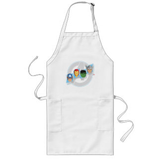 Avengers Character Faces Over Logo Long Apron