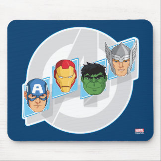 Avengers Character Faces Over Logo Mouse Pad