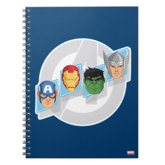 Avengers Character Faces Over Logo Notebook