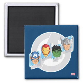 Avengers Character Faces Over Logo Square Magnet