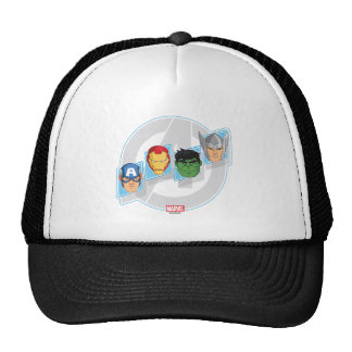 Avengers Character Faces Over Logo Trucker Hat