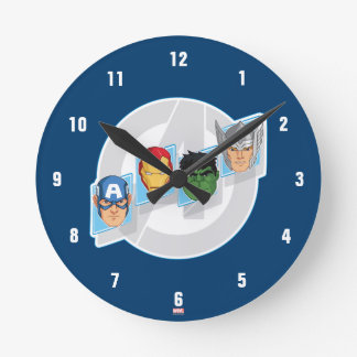 Avengers Character Faces Over Logo Wall Clocks