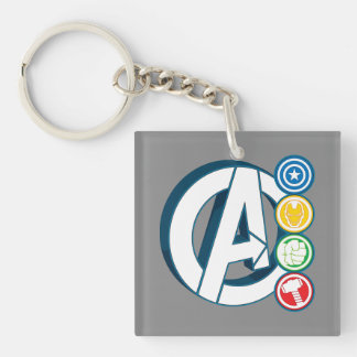 Avengers Character Logos Double-Sided Square Acrylic Keychain