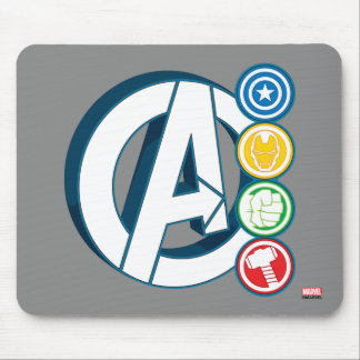 Avengers Character Logos Mouse Pad