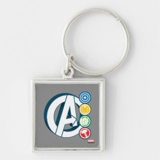 Avengers Character Logos Silver-Colored Square Keychain