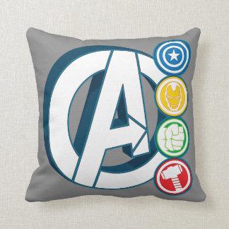 Avengers Character Logos Throw Pillow